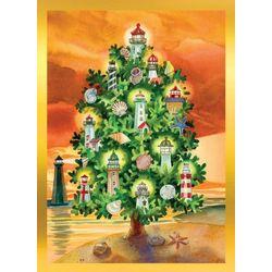 Brighten the Season Lighthouse Christmas Tree Greeting Cards