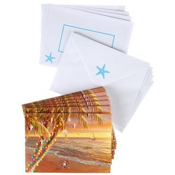 Brighten the Season Sunset Palm Tree Beach Greeting Cards