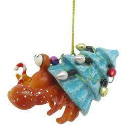 Brighten the Season Crab & String Light Tree Shell Ornament