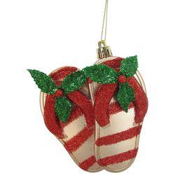 Brighten the Season Glitter Mistletoe Flip Flops Ornament
