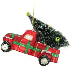 Brighten the Season Plaid Truck & Tree Ornament
