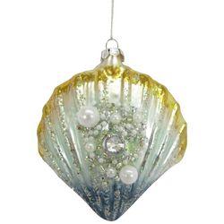 Brighten the Season Enchanted Glitter Scallop Shell Ornament