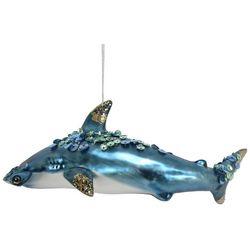 Brighten the Season Beaded Glitter Shark Glass Ornament