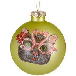 Brighten the Season Cat & Flamingo Glasses Ball Ornament