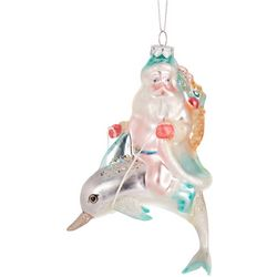Brighten the Season Santa Riding Dolphin Ornament