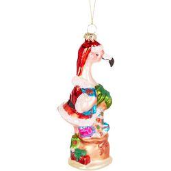 Brighten the Season Flamingo Santa Palm Tree Ornament