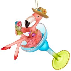 Brighten the Season Martini Flamingo Ornament
