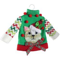 Brighten the Season Cat Christmas Sweater Ornament