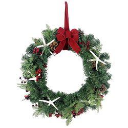 Brighten the Season 24'' Holly Berries & Starfish Wreath