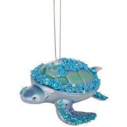 Brighten the Season Blue Sea Turtle Sequin Shell Ornament