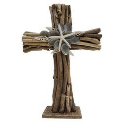Brighten the Season Driftwood Cross Shells Tabletop Decor