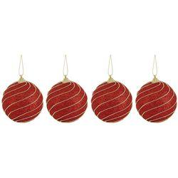 4-pc. Bead Glitter Ornament Ball Set