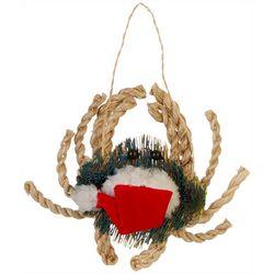 Brighten the Season Brush Crab & Santa Hat Ornament