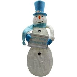 Brighten the Season LED Snowman & Sign Figurine