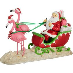 Brighten the Season Flamingo Santa Sleigh Decor
