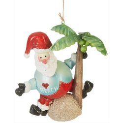 Brighten the Season Santa & Palm Tree Round Ornament