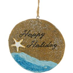 Brighten the Season Beach Sign Happy Holidays Ornament