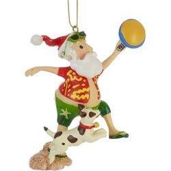 Santa Frisbee & Dog Ornament