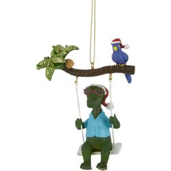 Brighten the Season Gator Swing & Bird Ornament