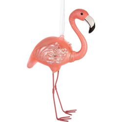Brighten the Season Flamingo Beads & Glitter Ornament