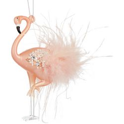 Brighten the Season Flamingo Beads & Feathers Ornament