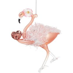 Flamingo Holding A Heart Ornament