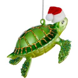 Sea Turtle & Santa Hat Ornament