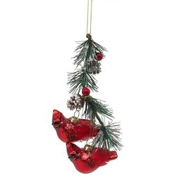 Cardinals & Holly Ornament