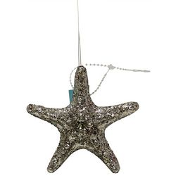 Brighten the Season Glittered Silver Starfish Ornament