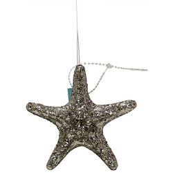 Glittered Silver Starfish Ornament