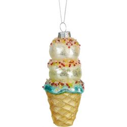 Brighten the Season Ice Cream Cone Glass Ornament