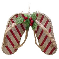Brighten the Season Flip Flops Stripe Ornament