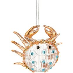 Brighten the Season Rhinestone Crab Glass Ornament