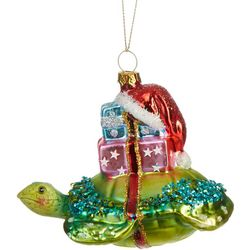 Brighten the Season Sea Turtle & Gifts Glass Ornament