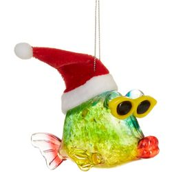 Brighten the Season Whimsical Fish & Santa Hat Ornament