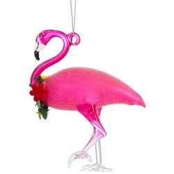 Brighten the Season Flamingo & Lei Glass Ornament