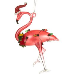 Brighten the Season Flamingo & Glitter Hat Ornament