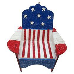 Brighten the Season American Flag Adirondack Chair Ornament