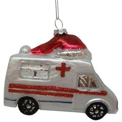 Brighten the Season Ambulance & Santa Hat Ornament