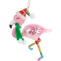 Brighten the Season Flamingo & Scarf Glass Ornament