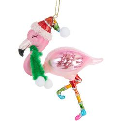 Flamingo & Scarf Glass Ornament