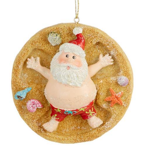 Santa at the Beach Snow Angels in Sand Christmas Ornament Seashells