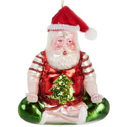 Brighten the Season Crossed Leg Yoga Santa Ornament