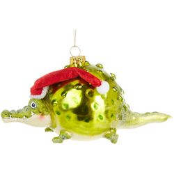 Brighten the Season Balloon Gator & Santa Hat Ornament