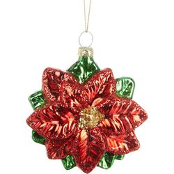 Poinsettia Glass Ornament