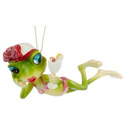 Sun Bathing Frog Ornament