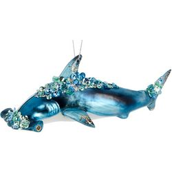 Brighten the Season Beaded Shark Glass Ornament