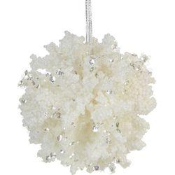 Coral Glitter Ball Ornament