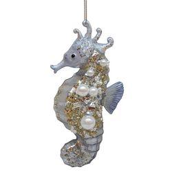 Brighten the Season Glitter Seahorse Glass Ornament
