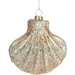Brighten the Season Glitter & Beaded Shell Ornament